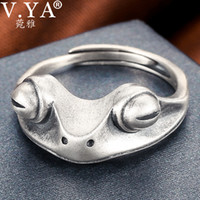 V. YA 925 Sterling Silver Frog Open Rings for Women Men Vinta...