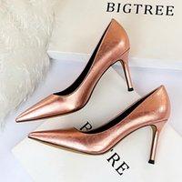 2020 Sapato Feminino Zapatos Mujer Tacon Big Tamanho 34-43 Cor Nova Primavera Outono Mulheres Bombas Mulheres sapatos de salto alto Pu