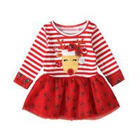 2020 Halloween Christmas Dress Crianças manga comprida em torno do pescoço Vestidos Stripe Elk Impresso Bebés Meninas Fashion Dress Crianças Partido Roupa E92701