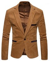 Cuello en V manga larga para hombre chaqueta de la manera de la pana solo botón para hombre sólido de color adapta a la chaqueta chaquetas para hombre del diseñador