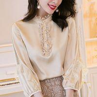 Sonbahar Hollow Out Dantel Bluzlar Kadınlar Champagne Renk Ruffled Kol Şık Bluz Bayan 2020 Kış Moda Lady Tops