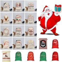 US Stock, Christmas Santa Sacks Canvas Bags Large Organic Heavy Drawstring Gift Bags Personalized Festival Party Christmas Decoration fy4249