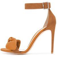 Sandálias Lovires Womens High Leel Bowknot Ankle Strap Open The The Drine Dress Stiletto Sapatos