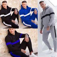 Erkek Hoodie Seti Kazak Kapşonlu Kapüşonlular Tasarım Coat Ceket ve Pantolon Tops İki Adet Kıyafet Çizgili Eşofman Kış Sonbahar Giyim LY926