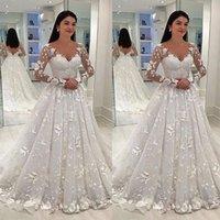 Lange Ärmel Brautkleider Günstige Frauen-Kleid mit V-Ausschnitt SpitzeApplique Eine Linie Braut Ballkleid Größe 2 4 6 8 10