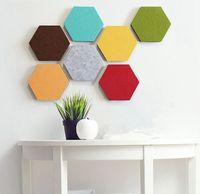 14 * 12cm Hexagon-Wand-Aufkleber Selbstklebende Filzblatt Panels Volltonfarbe Message Board-Wand-Aufkleber Dekorative KKA8025