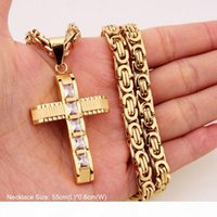 316L Stainless Steel Fashion Jewlery Byzantine Box Link Chain Necklace Cross Pendants For Men Women Hip Hop Accessories