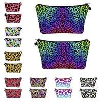 الساخنة ليوبارد الملونة طباعة حقيبة مستحضرات التجميل 3D تخزين الطباعة الرقمية غسل حقيبة ماكياج منظمة نسائية حقيبة يد T2D5072