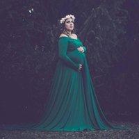 Abito di maternità spalle spalle per baby shower photo puntelli abito donna incinta manica lunga maxi gravidanza vestito per foto tiro Y200805