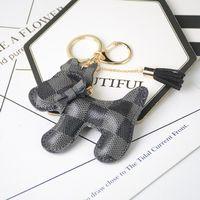 2021 Köpek Tasarım Araba Anahtarlık Çanta Kolye Charm Takı Çiçek Anahtarlık Tutucu Kadın Erkek Moda PU Deri Hayvan Anahtarlık Aksesuarları