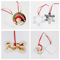 Sublimation Christmas Ornaments MDF Blank Round Square Snow Shape Decorations MDF Hot Transfer Printing Blank Coaster Multi-styles w-00189