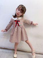 Girls Designer Dress Crianças Carta Impresso Princesa Vestido Novo Outono 2020 Crianças Colarinho Algodão Manga Longa Vestido Plissado S546