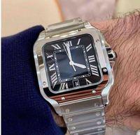 2020 Nuovi orologi quadrati 40mm Ginevra Ginevra Orologi meccanici in acciaio inox Acciaio inossidabile Caso e braccialetto moda uomo orologi da polso da uomo maschile