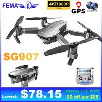 FEMA GPS SG907 무인 항공기 전문 Quadcopter 카메라 HD 4K 1080P 5G 와이파이 FPV RC 헬리콥터 Foldable Pro Drones VS E520S
