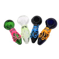 COURNOT Octopus Handle Glass Hand Spoon Pipe Green Transpare...