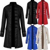 E-Baihui 2020 European and American Men's Solid Color Casual Coat, Fashion Steampunk Retro Stand Collar Uniform 1872801