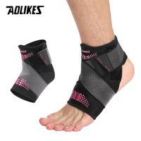 AOLIKES ajustável Suporte tornozelo Pad Proteção bandagem elástica tornozelo Brace Guarda Entorses Enrole Pad Heel para Basketball