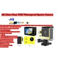 Acción deportiva Video Cámaras H9 DV 4K Cámara ultra clara 2.0 HD Pantalla WiFi Apareado al aire libre 170 ° Lente de ojo de pez de gran angular