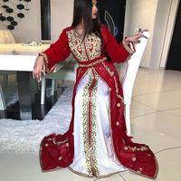 Dubaï Maroc Kaftan robes de soirée rouge et blanc à manches longues perles Appliques Arabie africaine arabe Prom Party robe