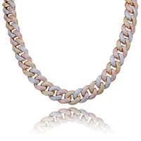 18мм Hiphop Link Chains Майами Куба цепи Mens ожерелье 18K позолоченный Марка Дизайнер ожерелье хип-хоп ювелирные изделия с CZ