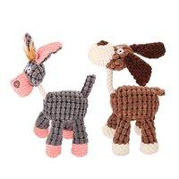 3 цвета Donkey Форма собаки Chew Звук игрушка для маленьких собак Plush Puppy Squeaky Укус противодействующую животных Домашние животные и сад