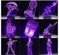 3D LED 램프 7 색 터치 스위치 표 데스크 라이트 용암 램프 아크릴 환상 룸 분위기 조명 게임 팬 선물 모든 스킨