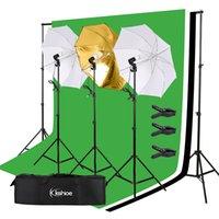 Фон 45W Фотография Студия Фон Softbox Umbrella Непрерывное освещение Kit Soft Light Umbrella фона кадра Набор 3 Огней