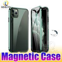 Для iPhone 12 Pro Max 11 XR Samsung S21 NOTE20 Ультра магнитные чехлы с алюминиевой металлической рамой Двойной стеклянной магнитной адсорбции Case Izeso