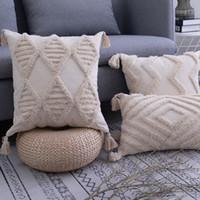 Quasten Kissenbezug 45x 45cm / 30x50cm Beige Kissenbezug Handmade Platz Hauptdekoration für Wohnzimmer Bettzimmer mit Reißverschluss öffnen