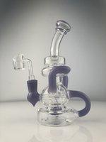 aceite Quemador Glass Bong púrpura Bubber del tubo de agua de arte con BANGER Concentrado Rigs Dabber 14mm altura banger 8inch