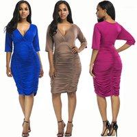 Tiefer V-Ausschnitt Plissee-Hüfte-Kleid Damenmode Luxus Designer-Kleider der Sommer-Frauen plus Größe 3XL Bodycon Kleider Solid Color