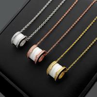 Yeni Taraflar Elmas Seramik Bahar Vida Konu kolye ile Moda Klasik Lady 316L Titanyum çelik 18K Kaplama Altın Kolye varış