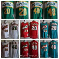 Seattle vintageSuperSonics SonicsJersey Gary Payton 20 Shawn Kemp 40 New Cheap Basketball Jerseys