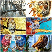 AZQSD DIY UNFRAME взрослых Paint By Numbers Animal Unique Gift Oil Painting By Numbers Owl Picture For Living Room украшения дома