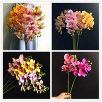 Pu phalaenopsis real touch butterfly orchid falska orkidéer 5 färger konstgjord orkidé blomma för bröllop dekoration grossist