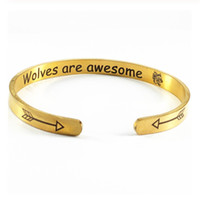 Carving Letter Arrow and Wolf Head Punk Bracelets For Women ...