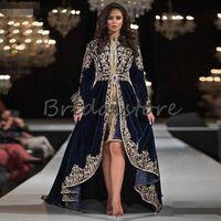 Вечернее платье Новый марокканский Кафтан Вечерние платья с длинным рукавом Кружева Аппликации мусульманская Arabic Формальное платье 2020 Velvet High Low Dubai Абая