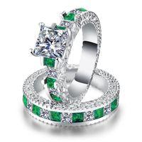 Choucong einzigartig Luxus Schmuck 925 Sterling Silber Prinzessin Cut Smaragd Cut Topaz Edelsteine Party Ewigity Bridal Ring Set für Geliebte Geschenk