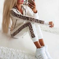Мода 2Pcs Женщины Leopard с длинным рукавом с капюшоном Спорт Топы Брюки Tracksuit Женщины Толстовка Пот Повседневный Два цвета костюм спортивный костюм