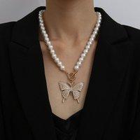 Cadena de granos de la perla collar de mariposa animales del encanto para la joyería de imitación Declaración vendimia de las mujeres Party Girl boda Collares regalo