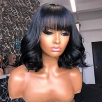 Curly Vierge Perruque Malaysian Remy Cheveux Partie libre Perruques de cheveux humains pour femmes Couleur naturelle Machine pleine Perruques de fabrication avec frange