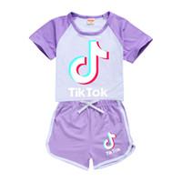 Estate Tik Tok Set Per Big Boy vestiti della ragazza del capretto di modo cotone T-shirt Top + Sport Casual Shorts mutanda 2pc Outfit bambini Boutique Tuta
