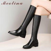 Botas Meotina Equitación de invierno Mujeres Natural Cuero genuino Tacones gruesos Rodilla High Zip Redondo Toe Shoes Lady Otoño Tamaño 33-42