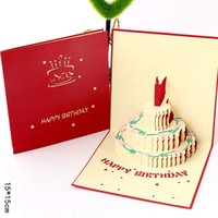 Creative 3D Handmade Greeting Cards Fashion Hollow Birthday Cake Paper Card Kids Blessing Greeting Cards for Birthday Gift