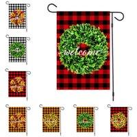 2020 Banderas Feliz Navidad lino Jardín de Navidad Garland de la tela escocesa de los diseñadores Banderas 47x32cm poner banderas bandera decoración al aire libre del partido D92506