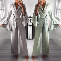 Women's Jumpsuits & Rompers 2021 Spring Irregular Flared Sleeve Long Lace Up Formal Knot Side Wide Leg Jumpsuit