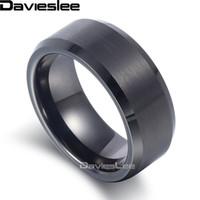 Davieslee Mens Boys Matte Skończono Pierścień Tungsten Carbide Wedding Engagement Black 8mm LTR04