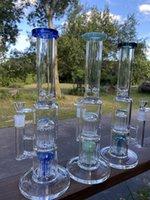 16Inch 5mm Doppelbaum Perc Heavy Duty Wasserleitungen Gerade Flacher Glas Bong Huka mit Eisklemsöl Rigs WP-001