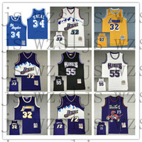 Erkekler Malone 32 O'Neal 34 Johnson 32 Williams 55 Stockton 12 Carter 15 Mitchell Ness Classics Oyuncu Gerileme Jersey