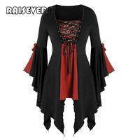Casual Kleider Gothic Mittelalterliche Blusen Frauen Punk Goth Kostüm Tops Steampunk Bandage Lace Up Hemd Damen Pailletten Flare Sleeve Bluse Blus